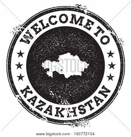 Vintage Passport Welcome Stamp With Kazakhstan Map. Grunge Rubber Stamp With Welcome To Kazakhstan T