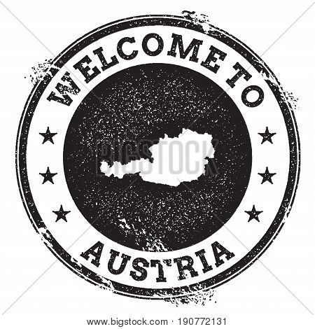 Vintage Passport Welcome Stamp With Austria Map. Grunge Rubber Stamp With Welcome To Austria Text, V