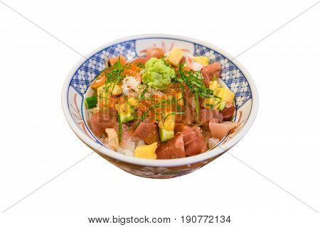 Mixed Donburi that Served with rice isolated on white background (Clipping path)