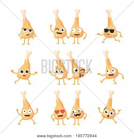 Chicken Legs Cartoon Character - modern vector set of mascot illustrations - dancing, smiling, having a good time. Emoticons, emotions, coolness, kiss, surprise, blinking