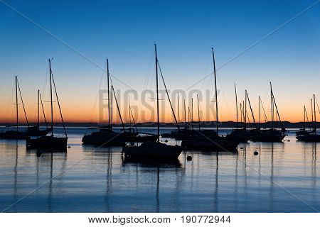 Various sails at sunset in lake Garda, Italy