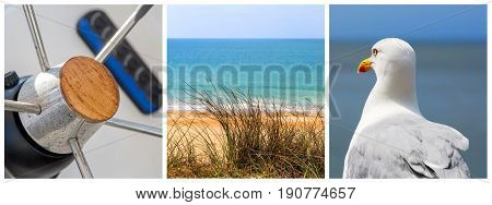 Panoramic Photo Collage Sea, Beach And Boat Concept