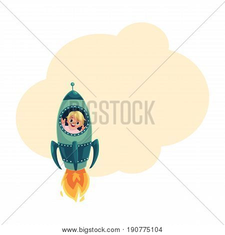 Happy little boy flying in rocket, spaceship, looking out of illuminator, cartoon vector illustration with space for text. Cute little boy astronaut flying in rocket, spaceship, aircraft