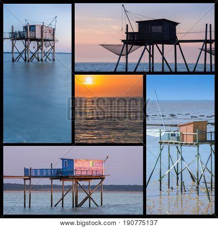 Photo Collage Of Plaice Hut In Atlantic Coast