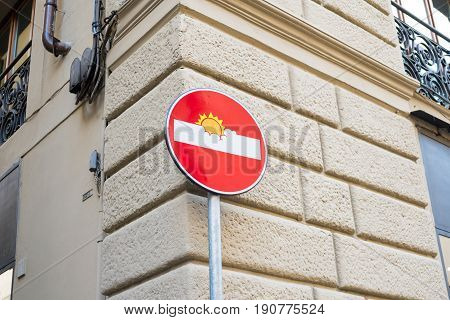 Florence, Italy - 19 May 2017 : Funny No Entry Road Sign, Street Art By Clet Abraham.