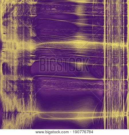 Vintage colorful textured background. Backdrop in grunge style with antique design elements and different color patterns: yellow (beige); gray; purple (violet)