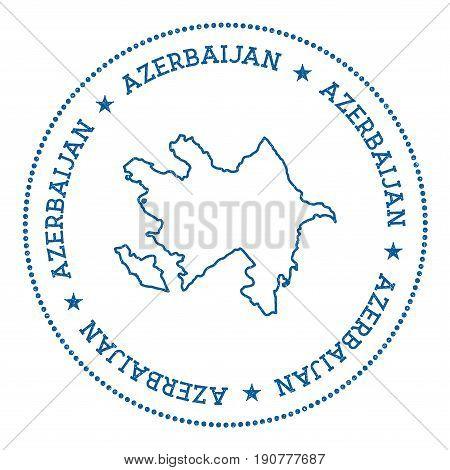 Azerbaijan Vector Map Sticker. Hipster And Retro Style Badge With Azerbaijan Map. Minimalistic Insig