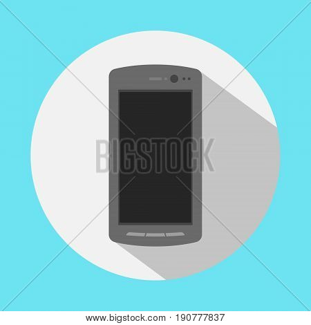 smartphone icon in the style flat design on the blue background. stock illustration