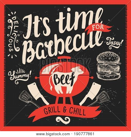 Barbecue party invitation. Design template with hand-drawn graphic elements in doodle style.
