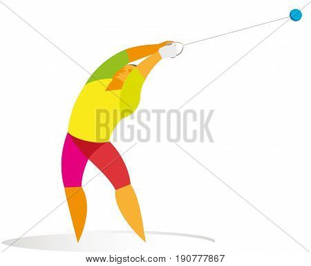 High and powerful athlete participates in hammer throw competitions