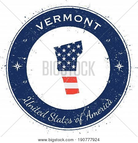 Vermont Circular Patriotic Badge. Grunge Rubber Stamp With Usa State Flag, Map And The Vermont Writt