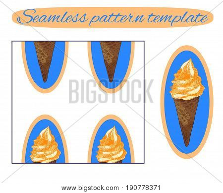 Seamless background with ice cream cone on white. VECTOR template. Sketched icecream with orange cream on blue.