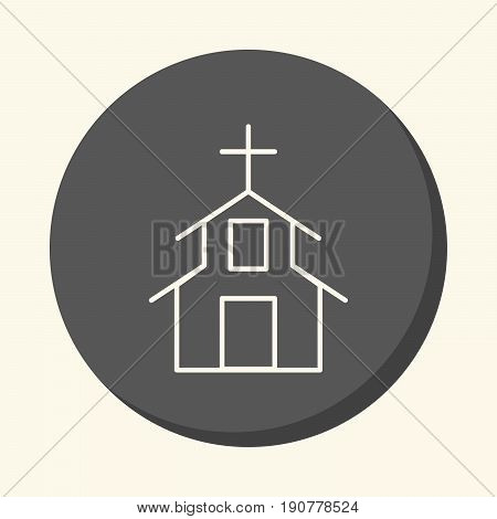 Religious Christian structure vector round linear icon with the illusion of volume