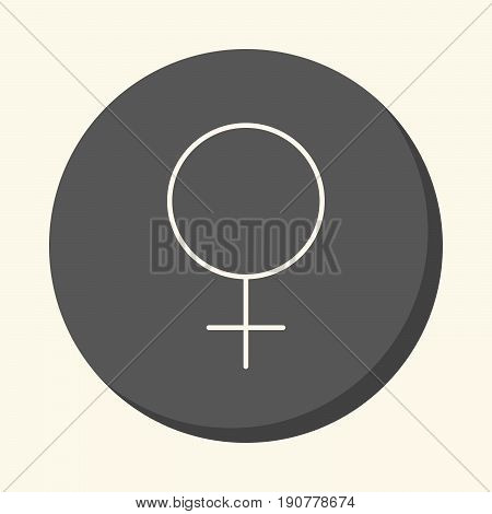 Symbol of a woman or Venus vector round linear icon with an illusion of volume