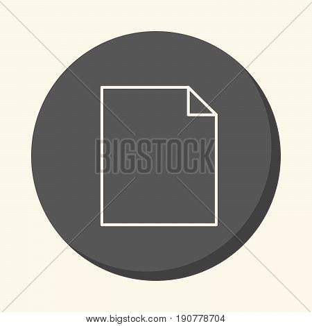 Blank sheet of paper with a curved corner a vector circular linear icon with an illusion of volume
