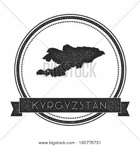 Retro Distressed Kyrgyzstan Badge With Map. Hipster Round Rubber Stamp With Country Name Banner, Vec