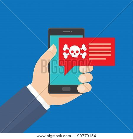 Smartphone in danger red alert. Malware notification fraud internet error message insecure connection online scam virus