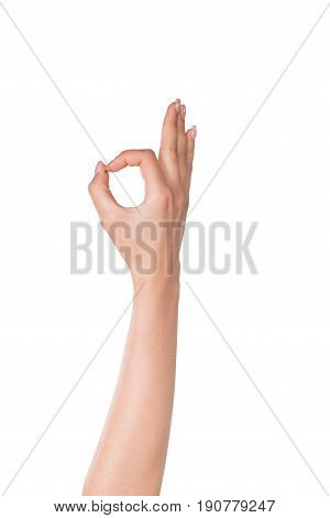 human hand showing okay sign isolated on white