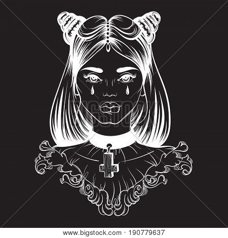 Vector illustration in street hand drawn style. Portrait of gothic young beautiful woman. Template for card banner poster and print for t-shirt