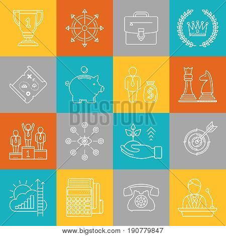 Business Strategy And Finance Lineart Minimal Vector Iconset On Multicolor Checkered Texture