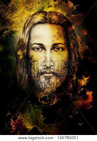 Pencils drawing of Jesus on vintage paper and color structure. Eye contact