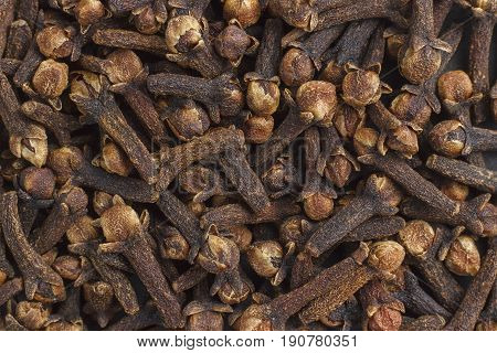 Background of a set of spice cloves