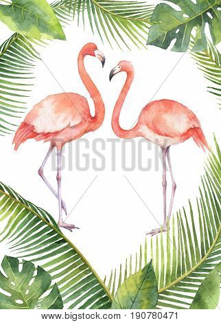 Watercolor card of tropical leaves and the pink Flamingo isolated on white background. Illustration for design wedding invitations, greeting cards, decor.Two pink flamingo set.