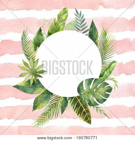 Watercolor round frame tropical leaves and branches on the background of stripes. Illustration for design wedding invitations, greeting cards, postcards with space for your text.
