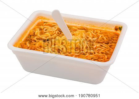 cooked instant noodle in rectangular styrofoam cup isolated on white background with fork