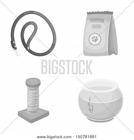 Leash, feed and other zoo store products.Pet shop set collection icons in monochrome  vector symbol stock illustration .