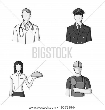 The doctor, the pilot, the waitress, the builder, the mason.Profession set collection icons in monochrome  vector symbol stock illustration .