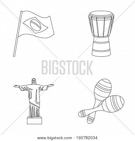 Brazil, country, flag, drum . Brazil country set collection icons in outline  vector symbol stock illustration .