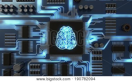 3D Rendered Illustration Of Artificial Intelligence Electronic C