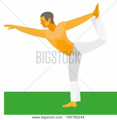 Yoga poses. A yoga instructor demonstrates a pose king of the dance