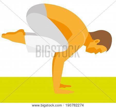 Yoga poses. Yoga instructor demonstrating the pose of crane