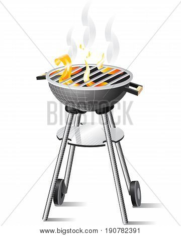 Meat is cooked on charcoal in a brazier
