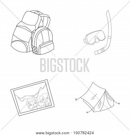 Travel, vacation, backpack, luggage .Family holiday set collection icons in outline  vector symbol stock illustration .