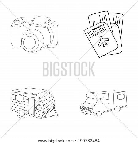 Vacation, photo, camera, passport .Family holiday set collection icons in outline  vector symbol stock illustration .