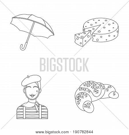 Umbrella, traditional, cheese, mime .France country set collection icons in outline  vector symbol stock illustration .