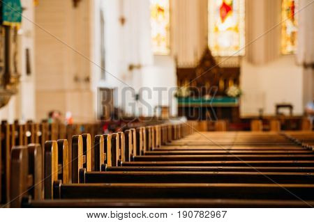 Riga, Latvia. Interior Of The Riga Dom Dome Cathedral. Church Pews.