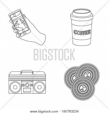 Hipster, fashion, , subculture .Hipster  set collection icons in outline  vector symbol stock illustration .