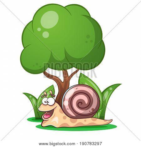 snail animals tree grass cartoon characters illustration