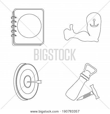 Restaurant, cafe, chair, bowling ball .Pub set collection icons in outline  vector symbol stock illustration .
