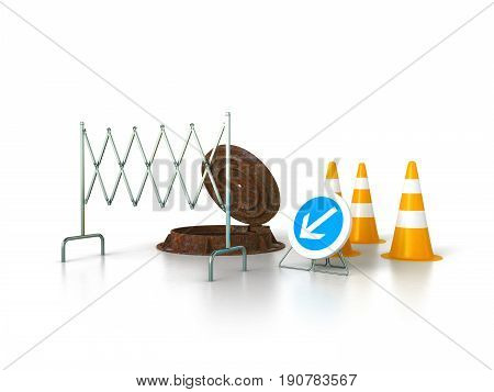 Concept Of Sewerage 3D Render On White Background Sewer Hatch Orange Cone Fence