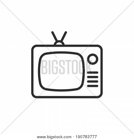 Tv old television line icon outline vector sign linear style pictogram isolated on white. Symbol logo illustration. Editable stroke. Pixel perfect