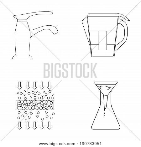 Filter, filtration, nature, eco, bio .Water filtration system set collection icons in outline  vector symbol stock illustration .