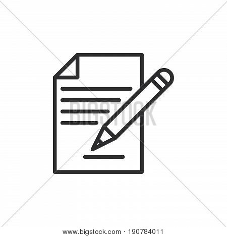 Contract signing document and pencil line icon outline vector sign linear style pictogram isolated on white. Form symbol logo illustration. Editable stroke. Pixel perfect