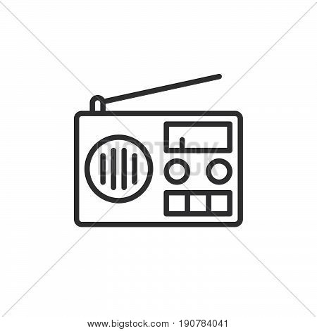 Radio line icon outline vector sign linear style pictogram isolated on white. Symbol logo illustration. Editable stroke. Pixel perfect