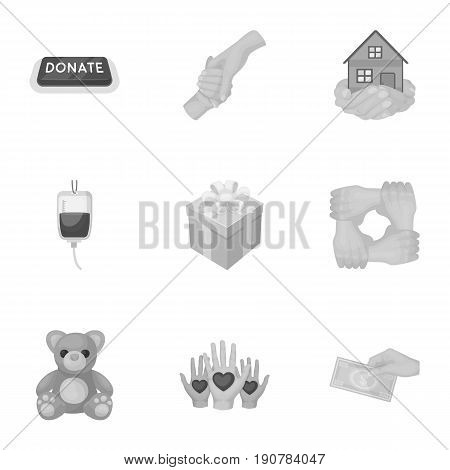 Charitable Foundation. Icons on helping people and donation.Charity and donation icon in set collection on monochrome  vector symbol stock  illustration.