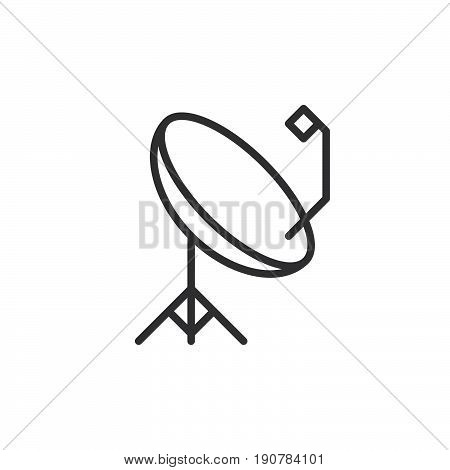 Parabolic satellite antenna line icon outline vector sign linear style pictogram isolated on white. Symbol logo illustration. Editable stroke. Pixel perfect